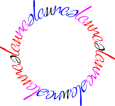 "Rotational chain ambigram of ""laura"" and ""neale"", colored to show overlap"